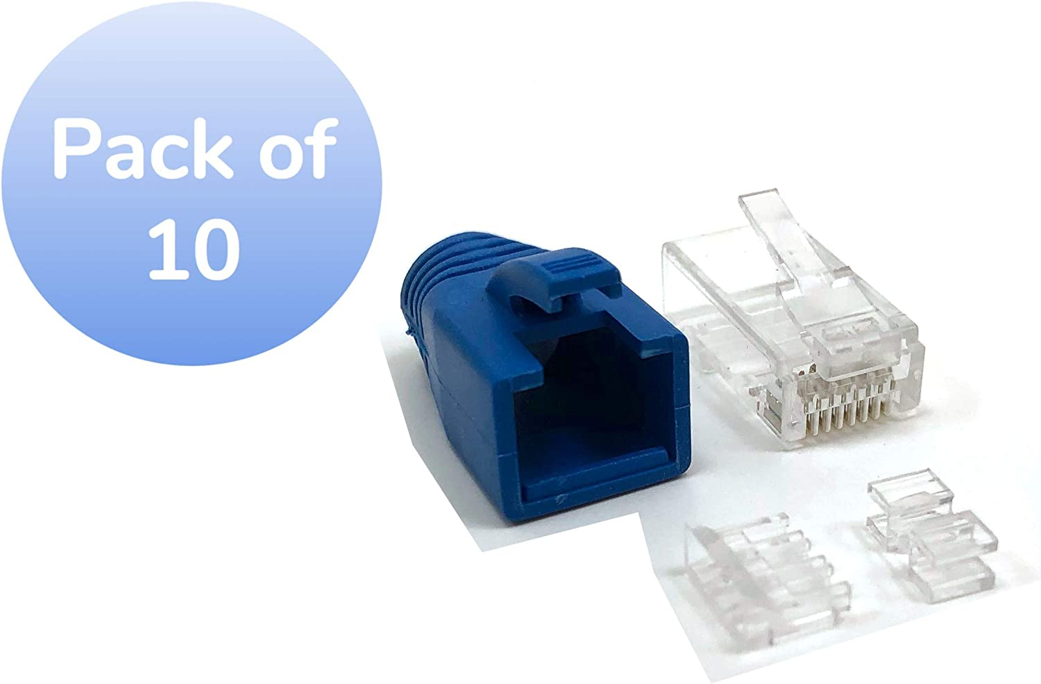C20-088L6A-10 Pack of 10 Micro Connectors Cat 6A RJ45 Modular Connectors with Boots and Load Bar