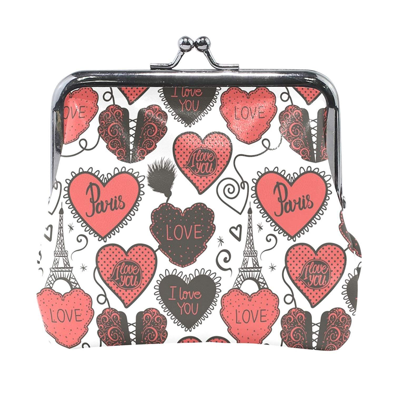 Coin Purses Eiffel Tower Love Heart Kiss-lock Buckle Vintage Clutch Cosmetic Bags
