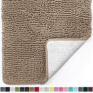 Gorilla Grip Original Luxury Chenille Bathroom Rug Mat, 60x24, Extra Soft and Absorbent Shaggy Rugs, Machine Wash Dry, Perfect Plush Carpet Mats for Tub, Shower, and Bath Room, Beige