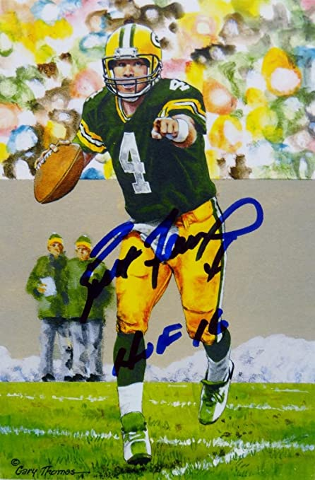 on sale 55a79 a7dca Brett Favre Autographed Green Bay Packers Goal Line Art Card ...