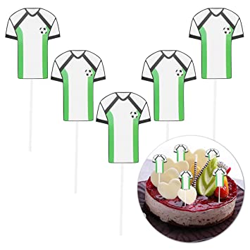 426f887460c2 TOYMYTOY 5pcs Soccer Cupcake Toppers Soccer Jersey Football Cake Sticks  Decor for Sport Birthday Party Supplies