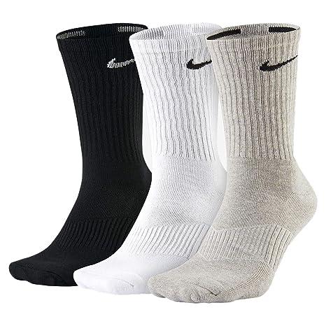 Nike Crew de calcetines de algodón forrada, resistente, Juego de 3, Blanco/