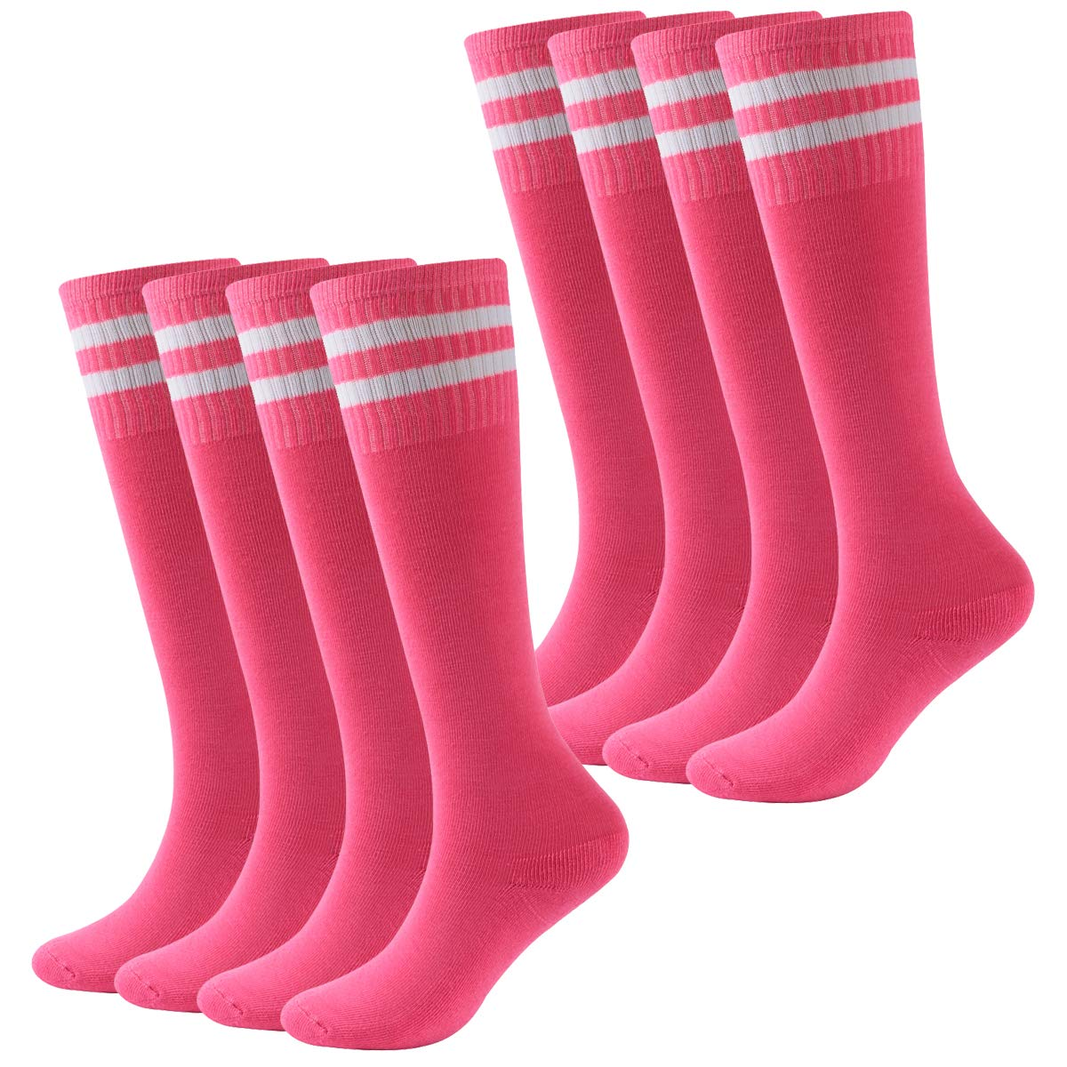 Boys Baseball Socks,Youth Kids Striped Cotton CushionTube Running Athletic Pink Soccer Socks Fasoar 8 Pairs Rose Red by Fasoar