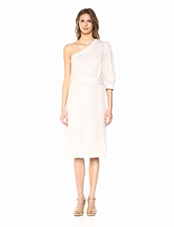 1434cc66011 Amazon.com  BCBGMAXAZRIA Women s One Shoulder Striped Linen Sheath ...