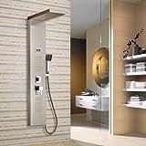 Auralum® Elegant Edelstahl Duschpaneel Thermostat mit Massagejets & Wasserfall mit LCD Display Wassertemperatur Anzeigen ink. Handbrause