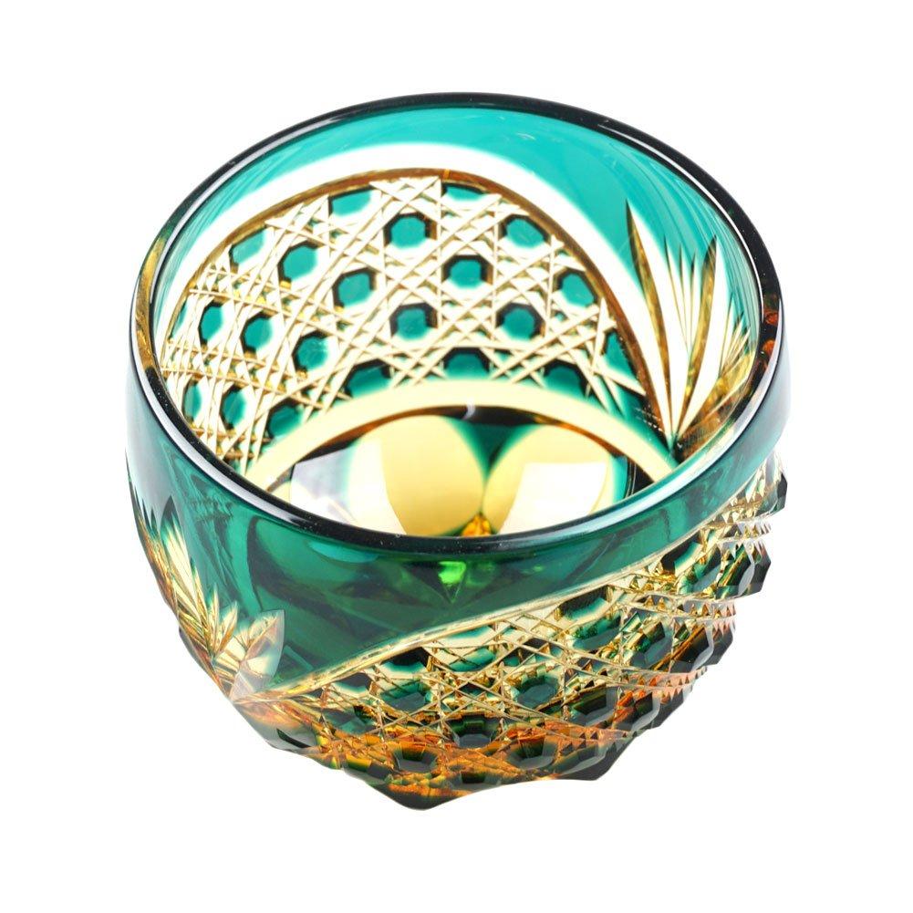 Crystal Sake Cup Edo Kiriko Guinomi Cut Glass Octagon Hakkaku-Kagome Pattern - Green x Amber [Japanese Crafts Sakura] by Japanese Crafts Sakura (Image #5)