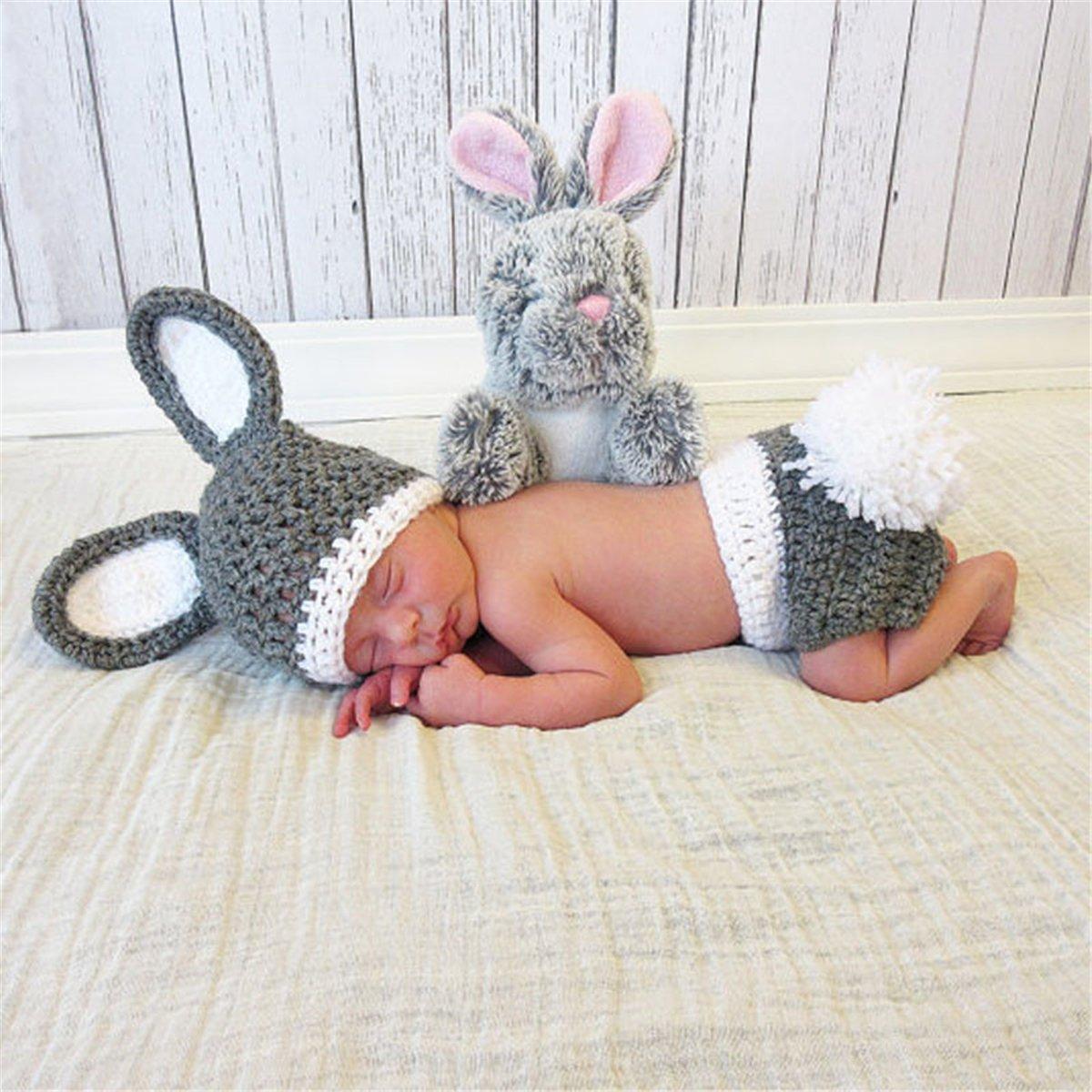 0-3 Meses de beb/é ZZHK Baby Photography Props Fotograf/ía de beb/é Disfraces de Conejo Hechos a Mano Ropa de fotograf/ía de beb/é