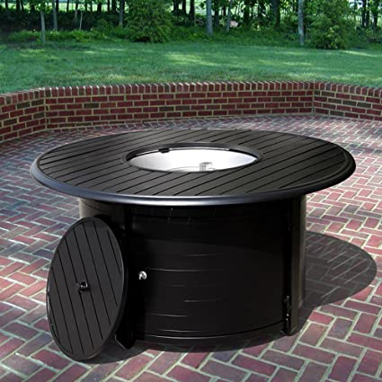 AZ Patio Heaters Outdoor Aluminum Propane Fire Pit In Black