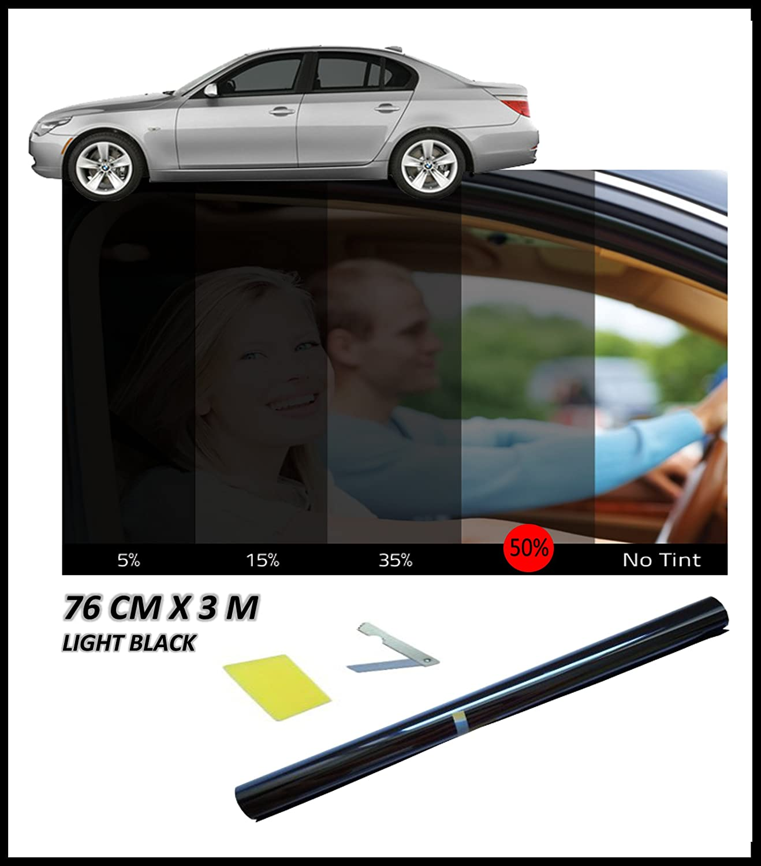 flexzon Anti-Scratch Professional Car Window Tint Film Tinting Light Black Smoke 50% 76cm X 3M
