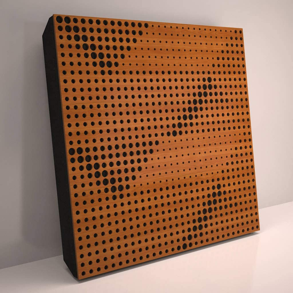 (4 Pack) Sound Absorption-Diffuse Acoustic Panel «Wilds» for rec.studio | Wood laminated: (Cherry)