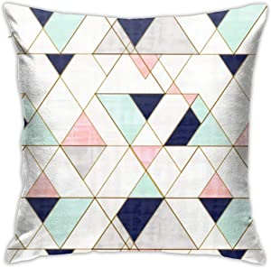 Antvinoler Triangles Navy Blush Mint Pillows Case Soft Throw Pillow Double-Sided Digital Printing Couch Pillowcase Square 45cm45cm