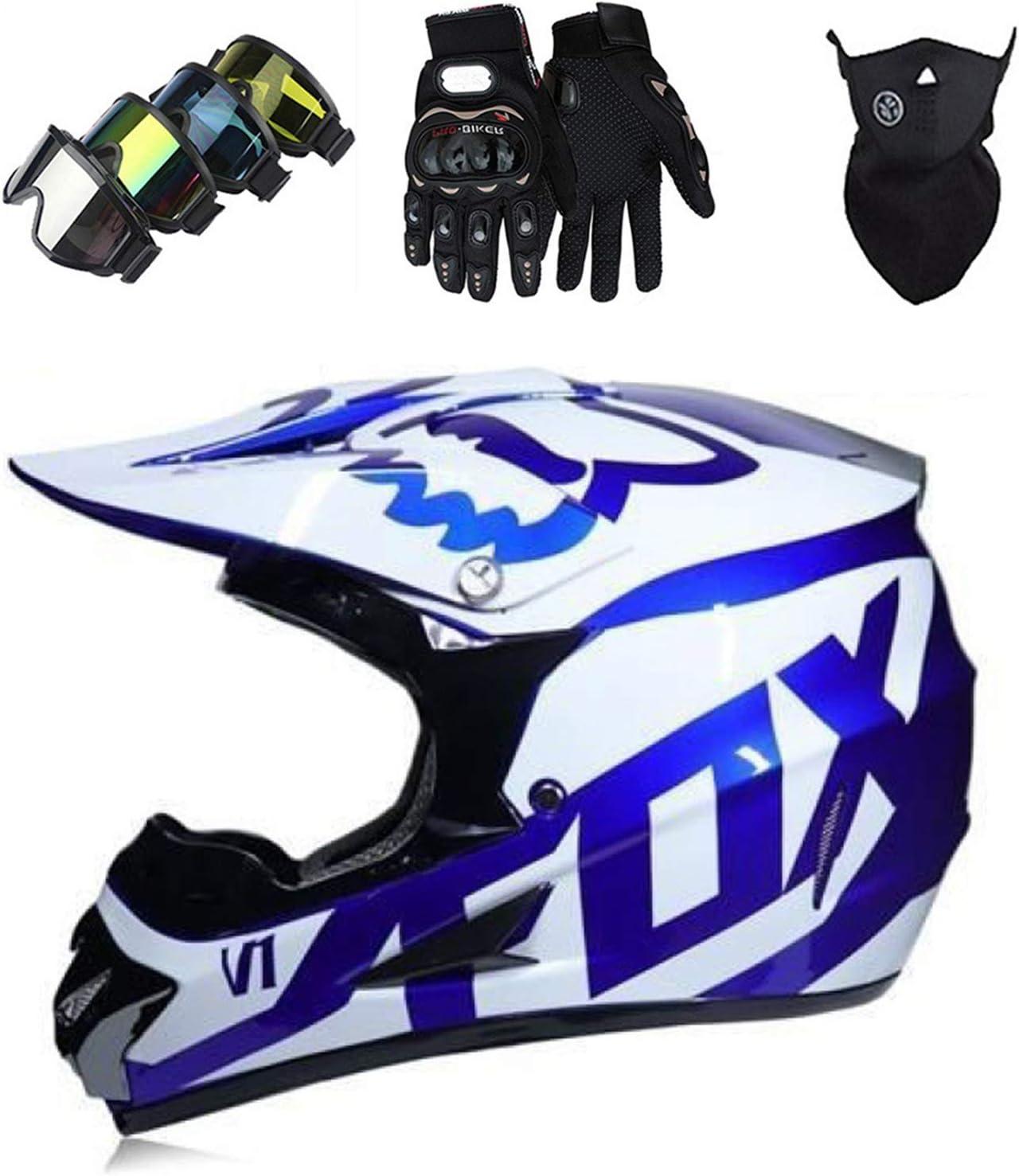 Cascos Integrales Infantil con Guantes Gafas Máscara, Aprobado DOT Conjunto Casco Motocross Motocicleta Adultos Casco protector Offroad Dirt Bike con Diseño FOX, Blanco Azul