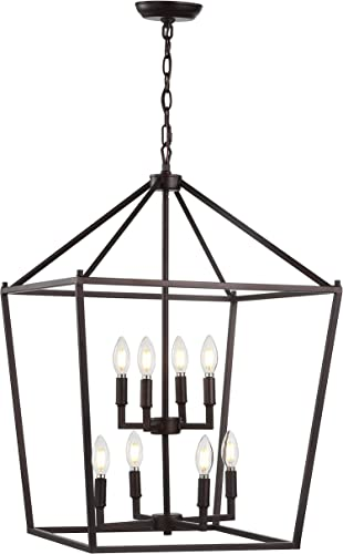 JONATHAN Y JYL7438A Pagoda 20 8-Bulb Lantern Metal LED Pendant, Classic, Traditional for Kitchen, Living Room, Oil Rubbed Bronze