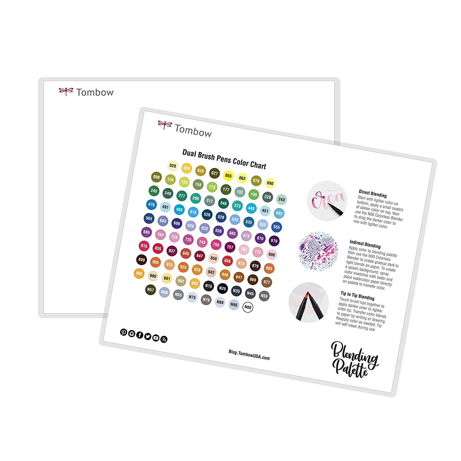 Tombow 56181 XL Blending Palette. Large Size Palette Allows Blending Colors with Ease