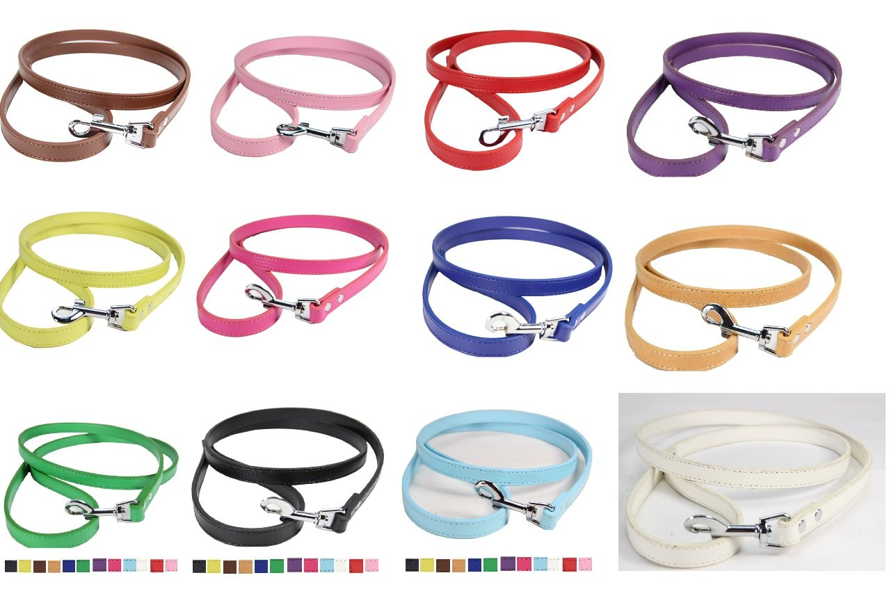 All colors-12pcs TenCloud Leather Dog Leash 0.8 Inch x 4 Feet Heavy Duty for Walking,12 colors (All colors-12pcs)