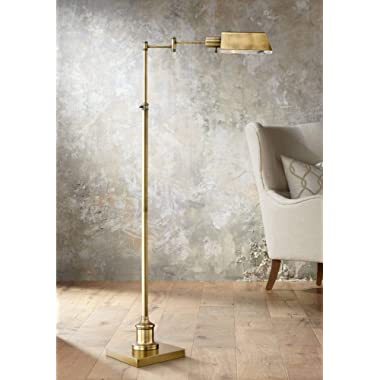 Jenson Modern Pharmacy Floor Lamp Aged Brass Adjustable Swing Arm Metal Shade for Living Room Reading Bedroom Office - Regency Hill