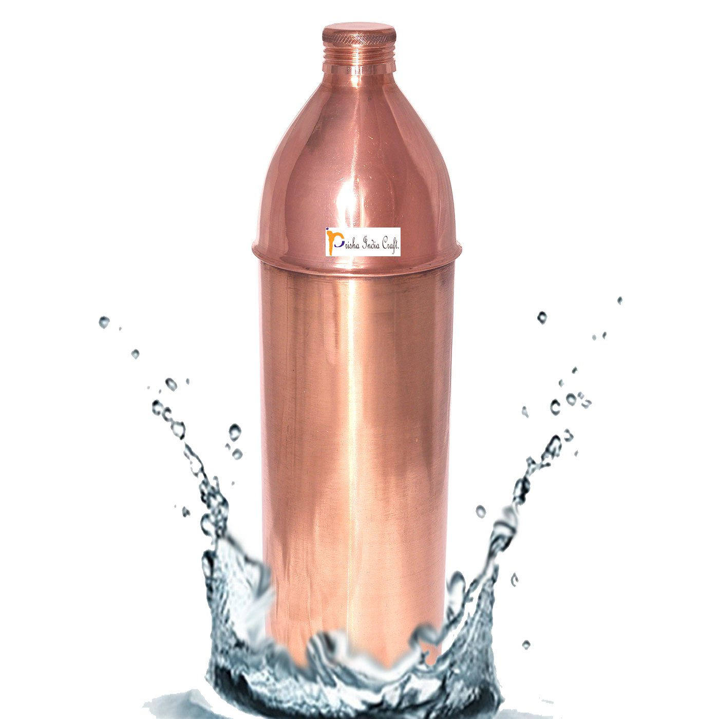 Prisha India Pure Copper Water Bottle High Quality for Ayurvedic Health Benefits Prisha India Craft