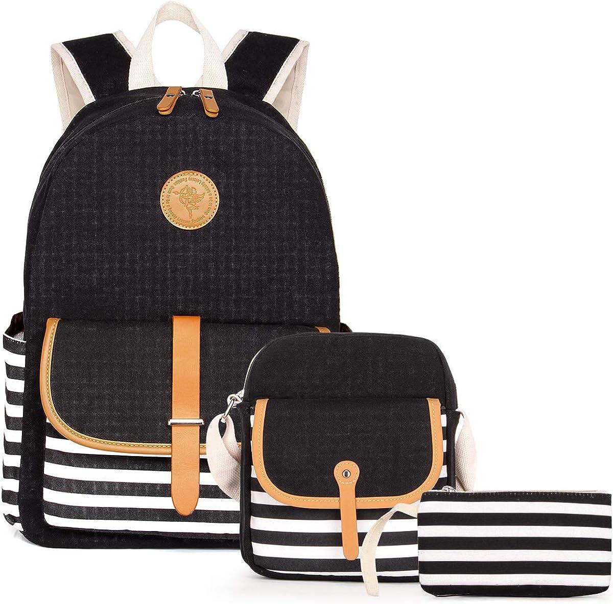 "3pcs Canvas School Backpacks Bookbags Sets for Teen Girls Black Striped Bookbags Travel Backpack for 14"" Laptop"