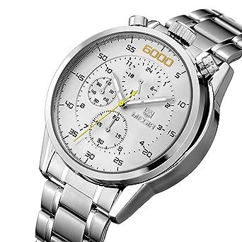 MEGIR Mens Military Sliver Stainless Steel Band Quartz Wrist Watch Luxury Fashion Calendar Movement Chronograph Sport
