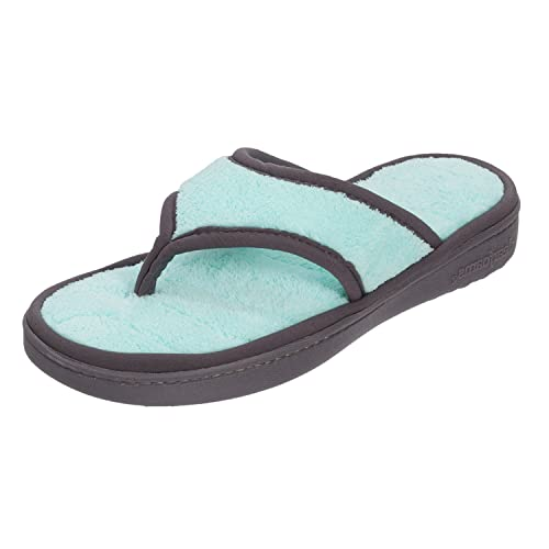 36e4fd2f870b Dearfoams Women s Microfiber Terry Flip Flop with Blue Wave Quilt  Sock-Small UK India