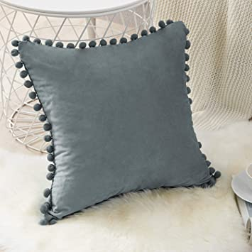 Top Finel Decorative Throw Pillow Covers for Couch Bed Soft Particles Velvet Solid Cushion Covers with Pom-poms, Pack of 1, Dark Grey