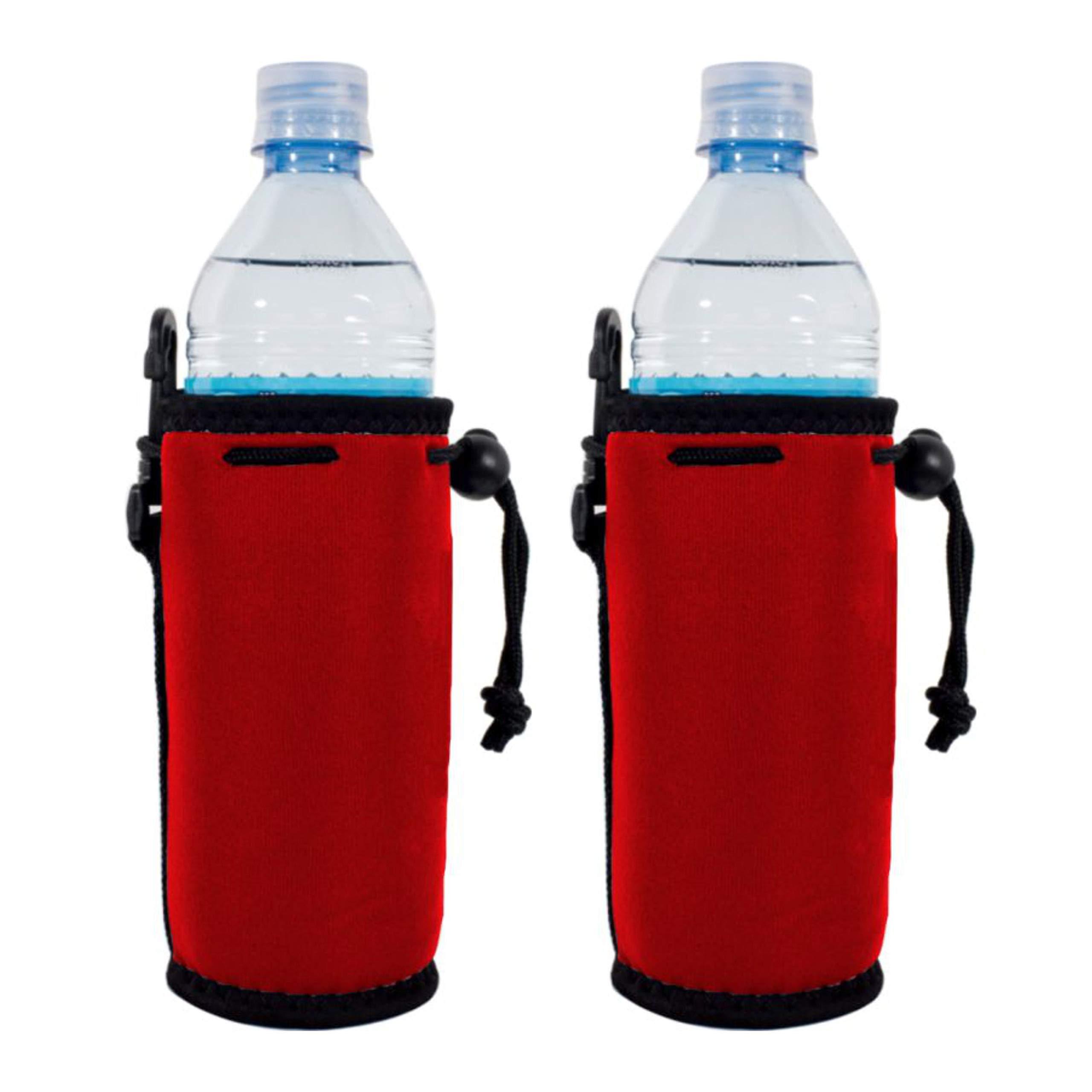 Blank Neoprene Water Bottle Coolie(s) with Full Bottom (2, Red)