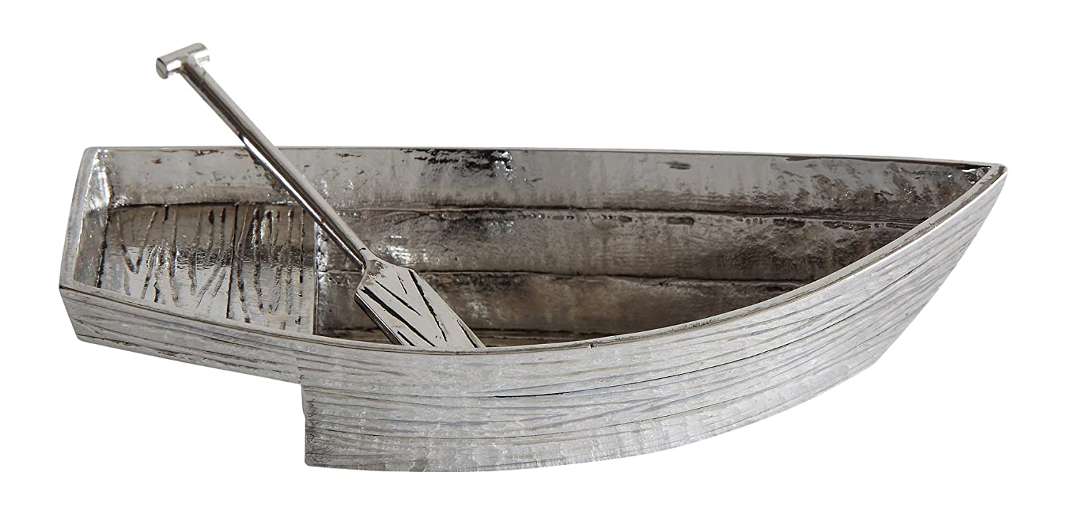 Creative Co-op Zinc Boat with Paddle Spoon Salt and Pepper Holder, Silver