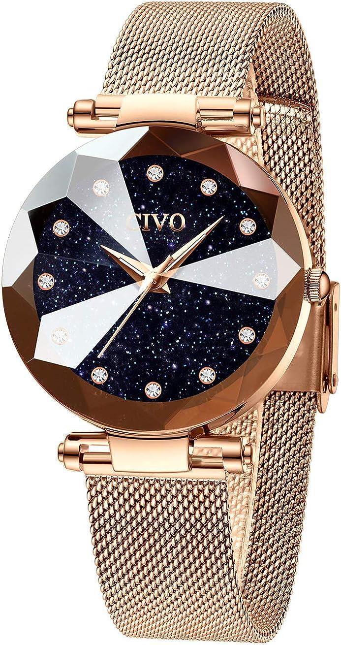 CIVO Relojes para Mujer Reloj Damas de Malla Impermeable Minimalista Oro Rosa Elegante Banda de Acero Inoxidable Relojes de Pulsera Moda Vestir Negocio Casual Reloj de Cuarzo