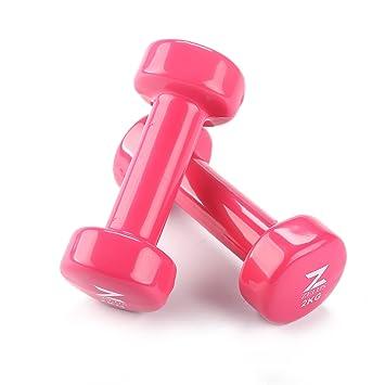 ZELUS Mancuernas de hierro fundido con revestimiento de vinilo para entrenamiento Fitness(juego de 2) Rosa 2kg: Amazon.es: Deportes y aire libre