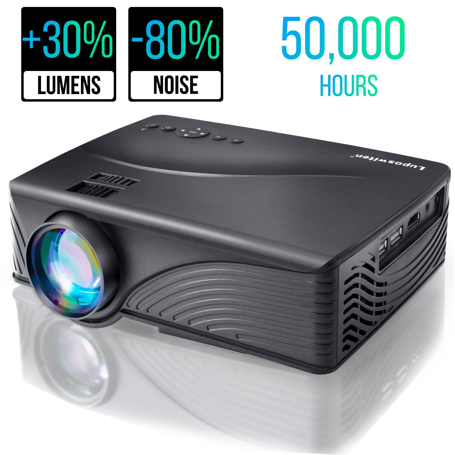 Portable Video Projector 2000 Lumen 1080P 170'' Display 50000 Hour HD LED Mini Projector Support HDMI USB AV Phone ipad Laptop TV Computer DVD SD for Home Theater, Gaming, Outdoor Movie