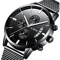 Reloj, Relojes para hombres, Relojes casuales de lujo clásicos de acero inoxidable negro con calendario Multifunciones impermeables reloj de pulsera de malla milanesa de cuarzo para hombres
