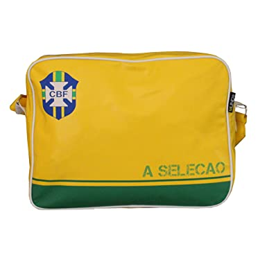 57b737c307ed Retro Style Brazil Football Sports Bag Unisex School Bag Gym Bag Flight  Shoulder Cross Messenger Bag All Weather Classic Airline Flight Bag   Amazon.co.uk  ...