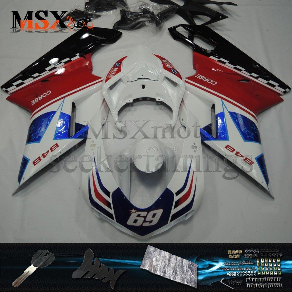 MSX-moto 適応ドゥカティPanigale Ducati 1098 1198 2007-2012 Ducati 848 07-12年 外装パーツセット ABS射出成型完全なオートバイ車体 赤/レッド&白/ホワイトのボディ   B07F34JQFJ