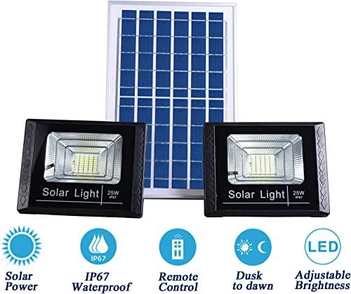 Solar Flood Lights Outdoor Dusk to Dawn,13.7 x 9.4 Solar Powered Panels,IP67 Waterproof,Remote Control,Dual 40 LEDs 8500K White Light Source,Auto On Off for Yard,Patio,Driveway,Porch,Garage,Barn
