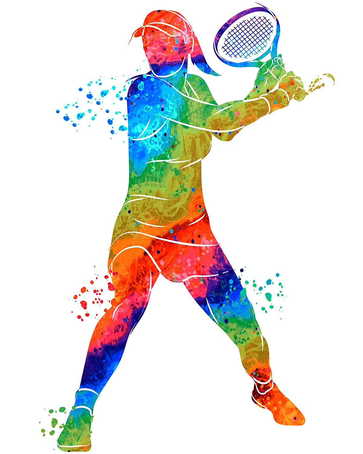 Gifts for tennis player women - Tennis Wall Art Gift for Her - Watercolor Vibrant Sports Posters - Long Tennis Workout room decor - Abstract decor for Girls bedroom…