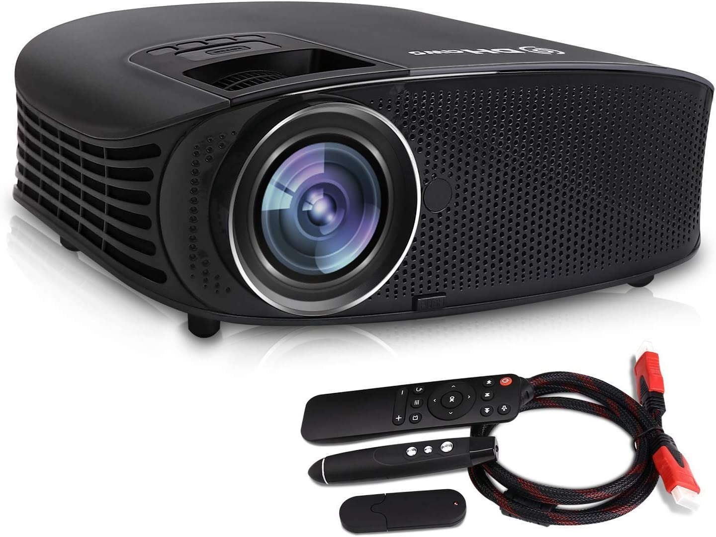 Video Projector,DHAWS 3800LM 1080P Full HD HDMI Office Projector for Laptop Business PowerPoint Presentation and Home Theater (with PPT clicker)