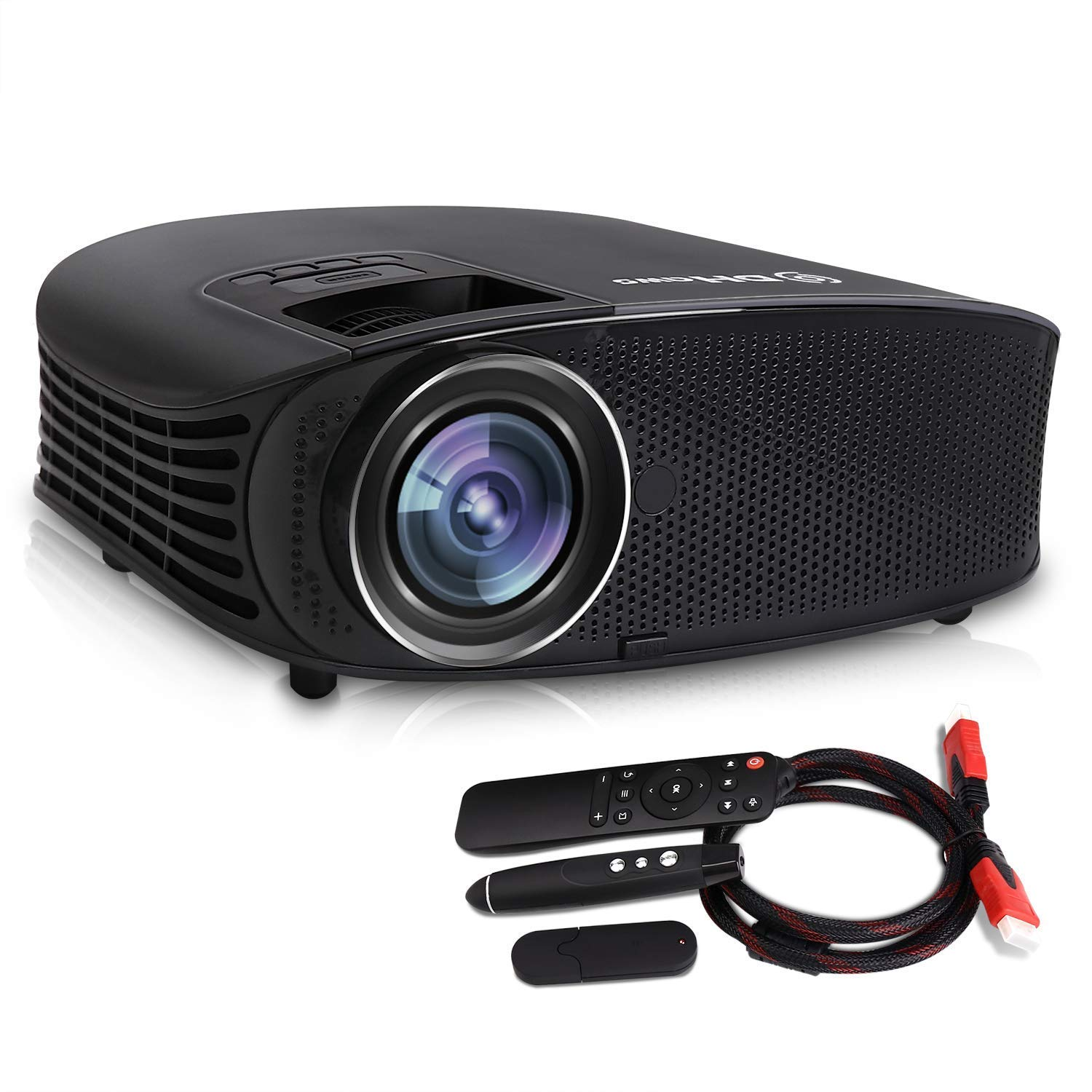 Video Projector,DHAWS 3800LM 1080P Full HD HDMI Office Projector for Laptop Business PowerPoint Presentation and Home Theater,with PPT Clicker (with PPT clicker)