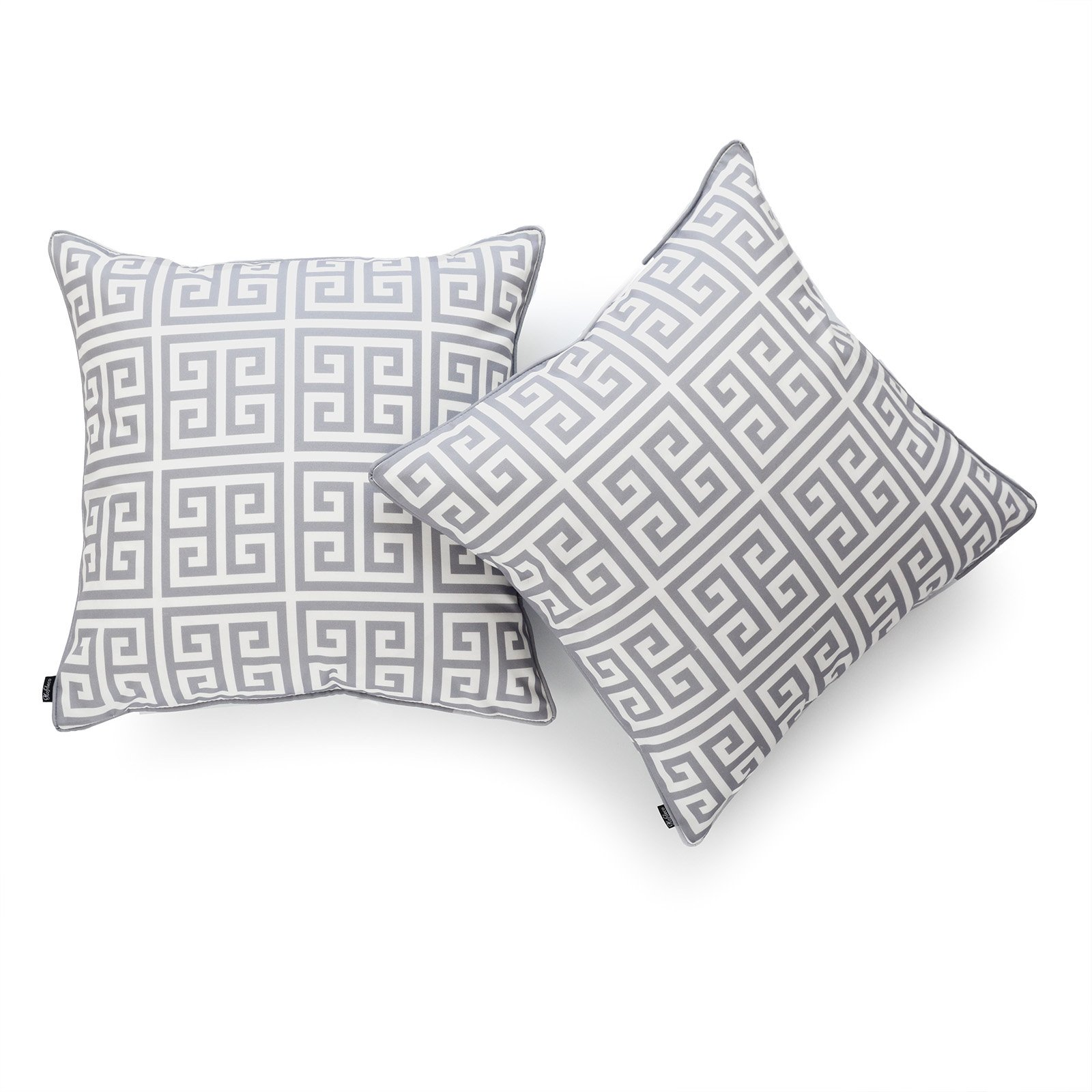 Hofdeco Decorative Throw Pillow Cover INDOOR OUTDOOR WATER RESISTANT Canvas Modern Grey Greek Key 18''x18'' Set of 2