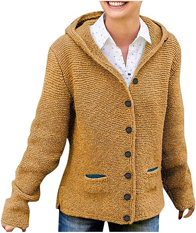 Strickjacke Damen Pullover Strickmantel Pulli Kapuze Taschen Neu S-5XL