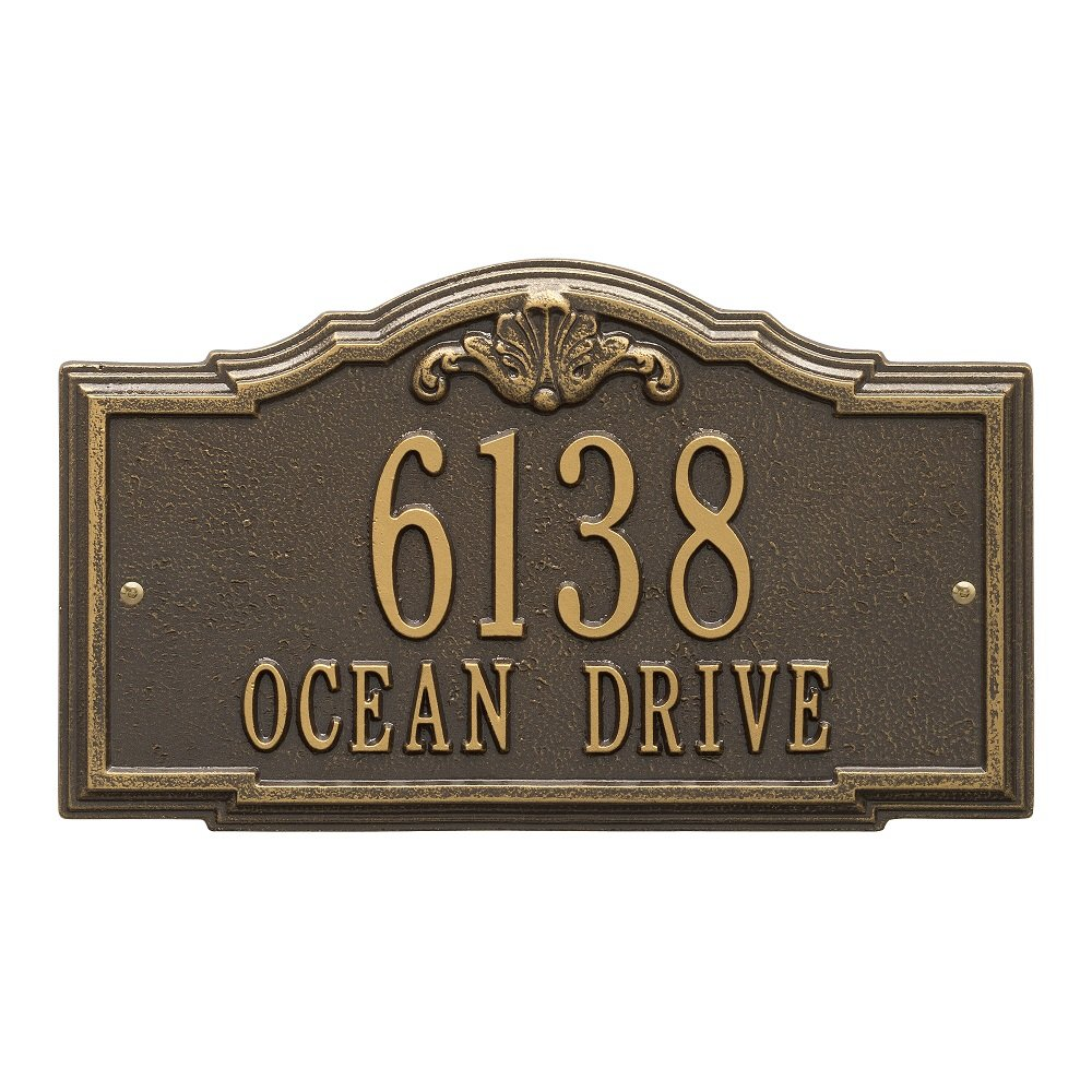 Whitehall Custom Gatewood Standard Wall Aluminum Address Plaque 14.25'' W x 8.5'' H (2 Lines)