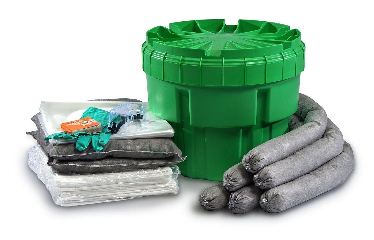 ESP SK-U20 34 Piece 20 Gallons Universal Absorbent Ecofriendly Spill Kit, 20 Gallons Absorbency, Green