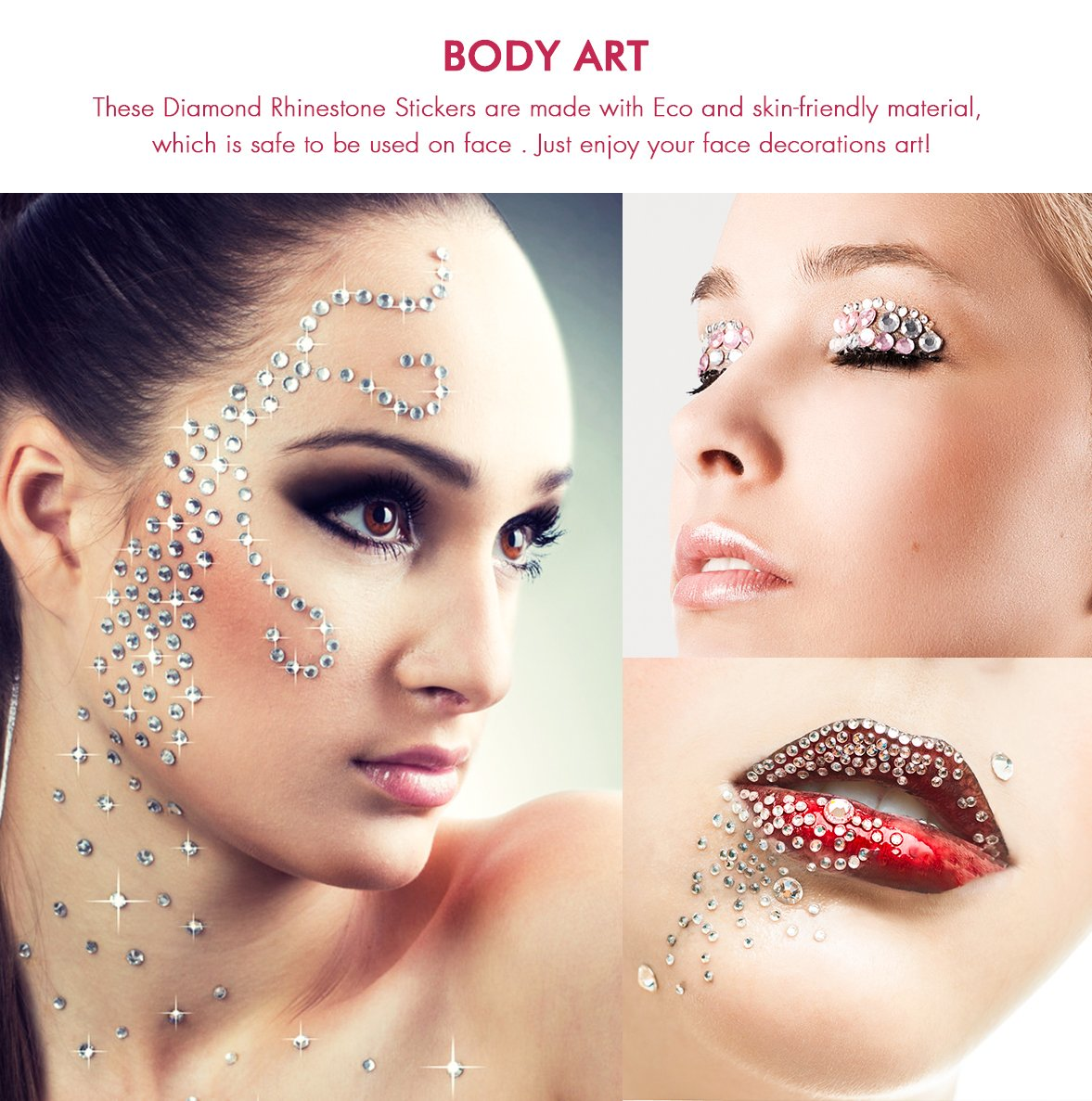 Nicpro 450 PCS 7 Size Acrylic Craft Rhinestone Sticker Self Adhesive Face Gems Bling Crystal Jewels for Kid,Nail Body Festival Face Multi Colors