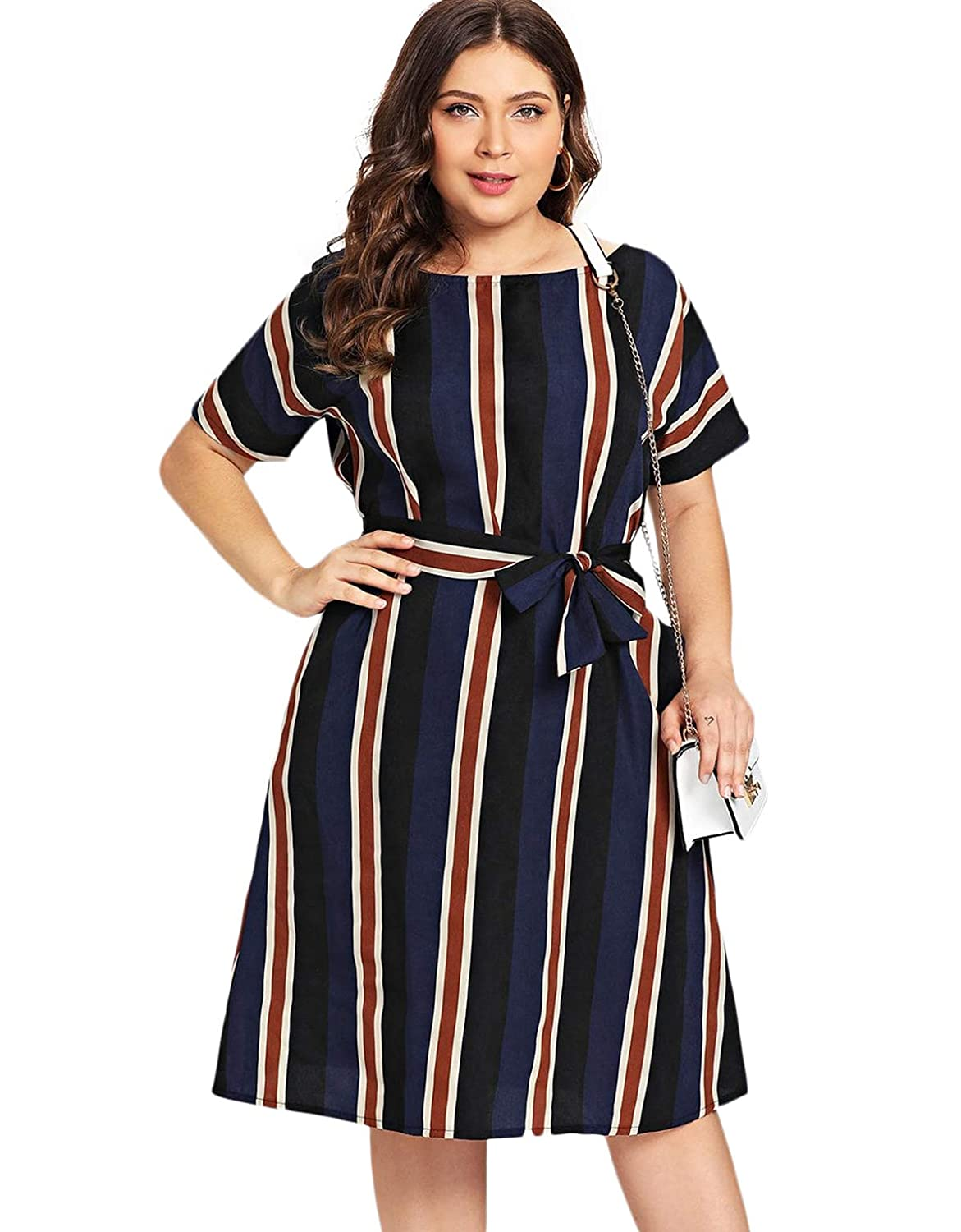 Milumia Women\'s Casual Plus Size Short Sleeve Colorblock Striped Belted  Midi Dress Navy 3XL