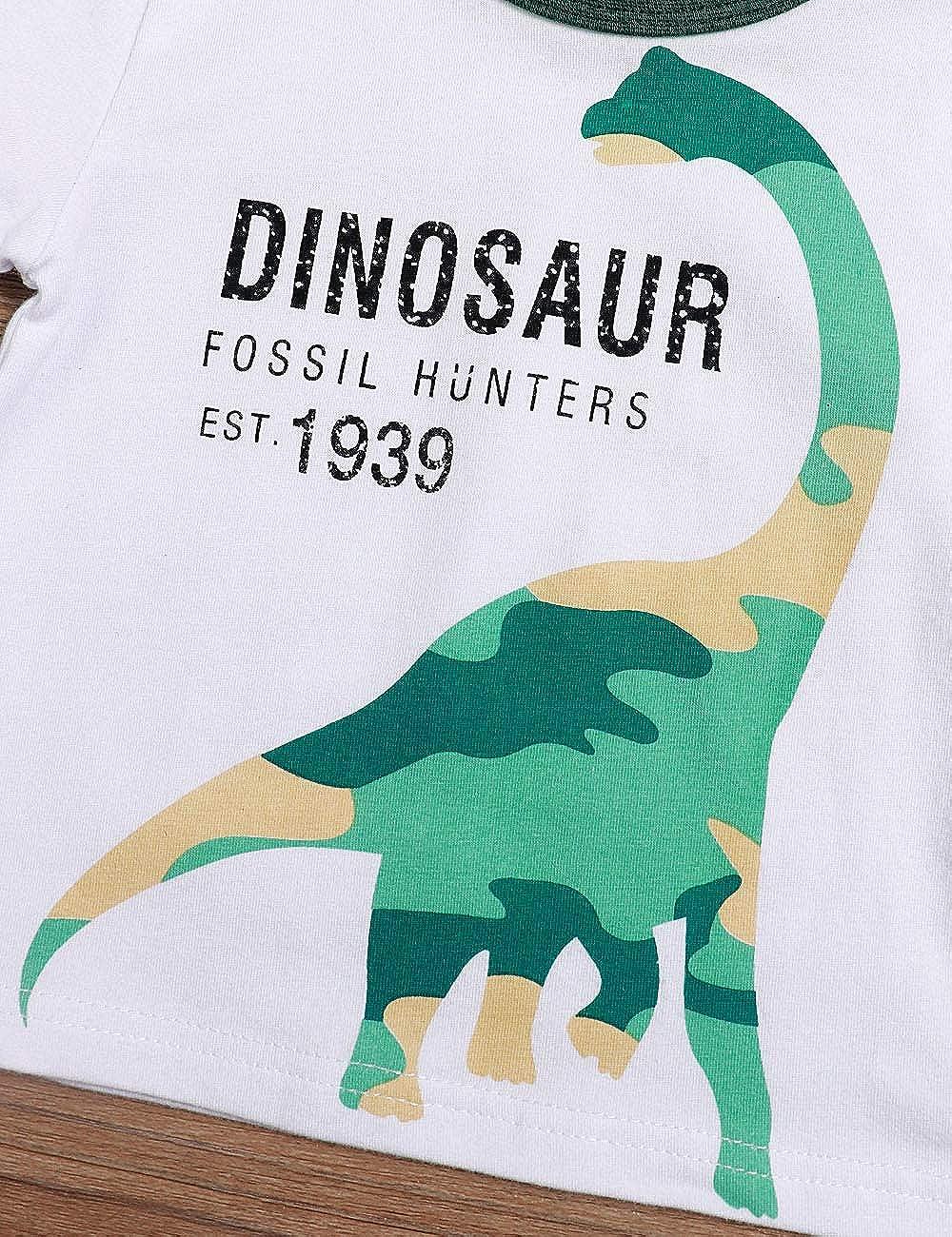 Toddler Baby Boy Clothes Summer Short Sleeve T-Shirt Dinosaur Pant 2Pcs Outfits Set