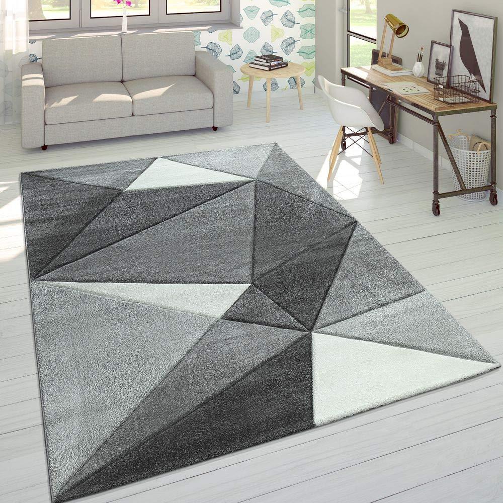 Paco Home Designer Teppich Moderner Konturenschnitt Trendige Dreiecke Grau Weiß, Grösse 160x230 cm