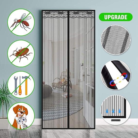 SAFETYON Mosquitera Puerta Magnetica, 100 x 220cm, Corredera Cortina Mosquitera Magnética para Puertas de Salón/Balcón/Corredor (Negro): Amazon.es: Bricolaje y herramientas