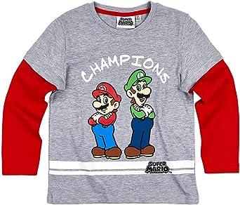 T Shirt Manches Longues Enfant Mario et Luigi GrisRouge de