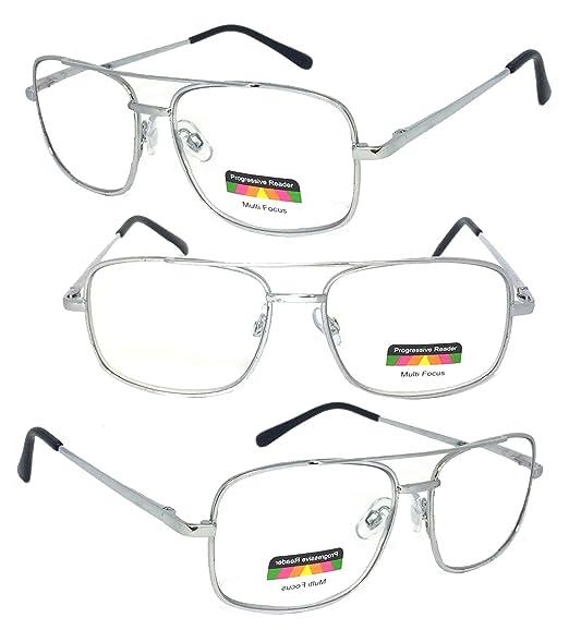 d5f67b8ab6 VeryHobby® Rectangular Metal Frame Spring Hinges Multi 3 Focus Progressive  Reading Glasses (+2.00