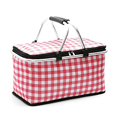 GLAUCUS Picnic Basket Lightweight Insulated Cooler Bag Large Size Insulated Picnic Basket for Outdoor Travel Camping (GW007Red Plaid) : Garden & Outdoor