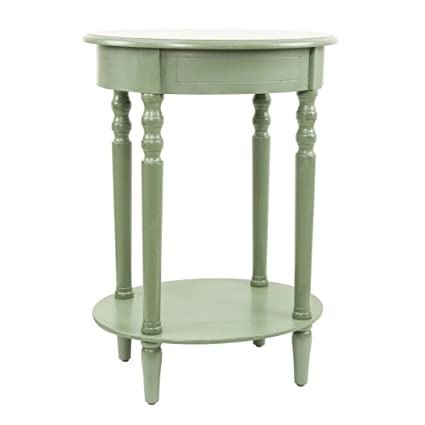 Décor Therapy Simplify Oval Accent Table, Antique Green